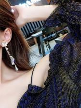 Butterfly Rhinestone Stud Tassel Earrings