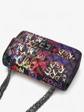 Letter Graffiti Thread Rhombus Chain Shoulder Bag