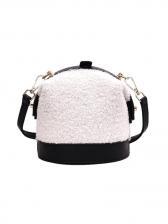 Stitching Color Patchwork Plush Ladies Shoulder Bag
