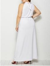 Smart Waist Sleeveless Solid Plus Size Maxi Dress