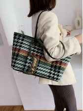 Mixed Color Tweed Shopping Over The Shoulder Bags