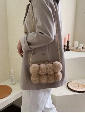 Cute Style Round Plush Ball Chain Shoulder Bag