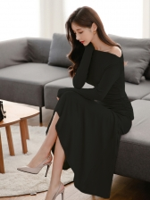 Elegant Fitted Solid Long Sleeve Maxi Dress