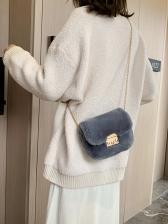 Metal Hasp Golden Chain Solid Plush Shoulder Bag