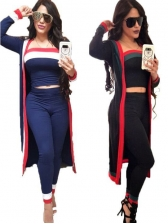 Stitching Color Fitted Three Piece Outfits For Women