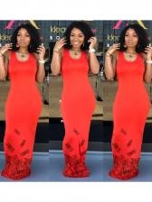 Crew Neck Sleeveless Print Maxi Dress
