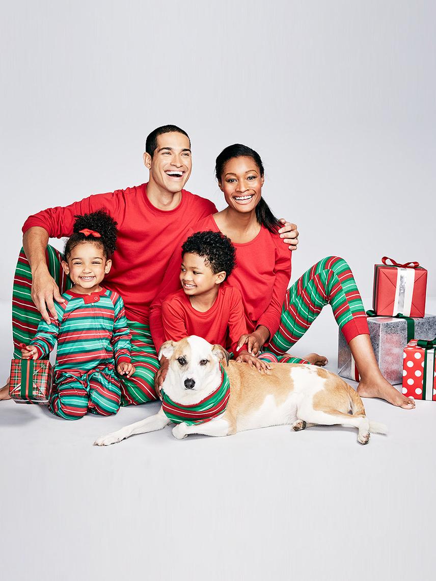 Christmas Stitching Color Stripes Family Pajama Sets