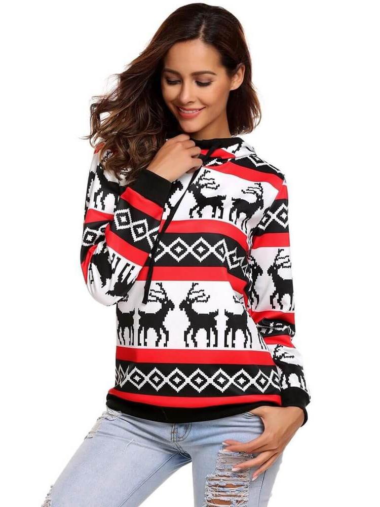Christmas Deer Geometric Pattern Hoodies For Women