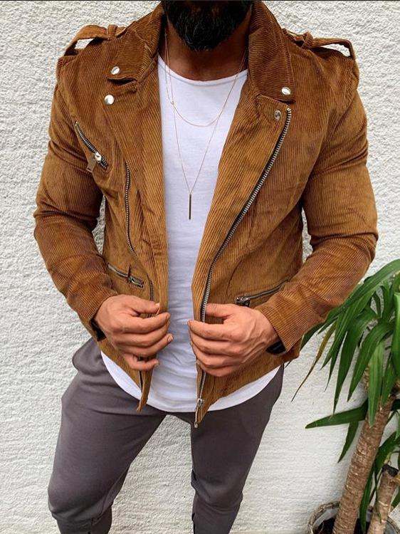 Corduroy Zip Up Long Sleeve Men Outerwear