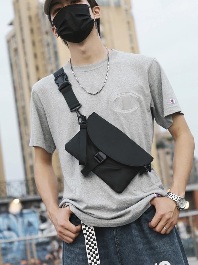 Buckle Strap Oxford Crossbody Shoulder Bag