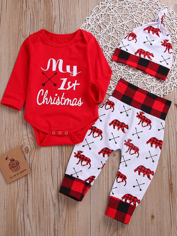 Christmas Girls Printed Bodysuit Three Piece Pants Set