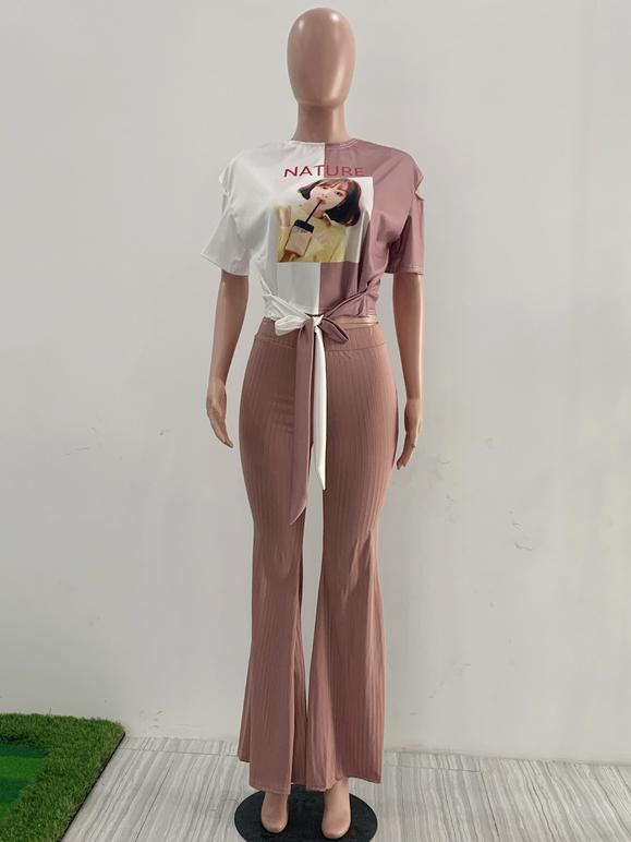 Contrast Color Causal Casual 2 Piece Pants Set
