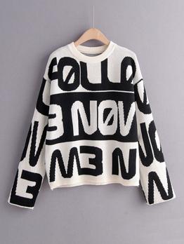 Letter Printed Loose Ladies Sweater