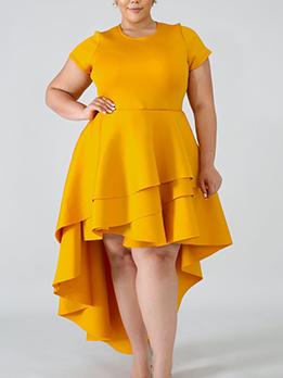 Ruffled Hem High-Low Short Sleeve Plus Size Dresses