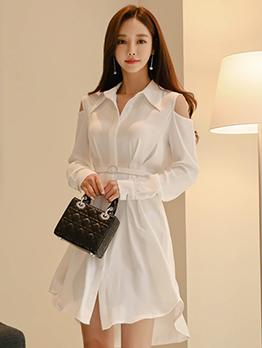 Open Shoulder Solid White Long Sleeve Dress