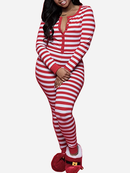 Christmas Back Printed Striped Jumpsuit