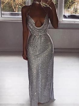 Boutique Backless High Split Hem Sequin Evening Dress