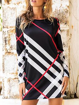 Contrast Color Simple Long Sleeve Mini Dress