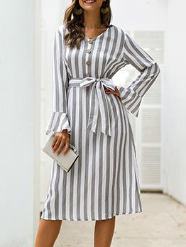 Empire Waisted Striped Long Sleeve Wrap Dress