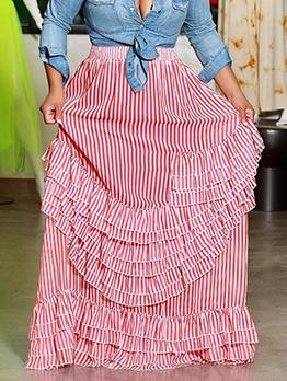 Casual Striped Maxi Ruffle Skirt