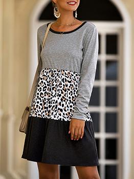 Leopard Patchwork Color Block a Line Dress