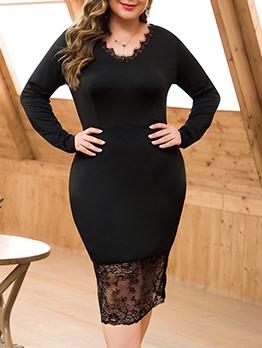 Plus Size Lace Patchwork Black Long Sleeve Dress