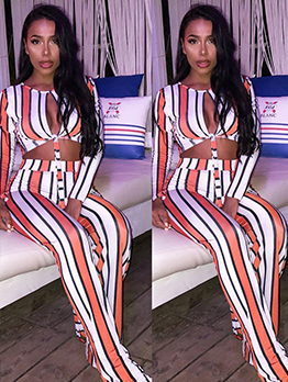 Striped Keyhole Crop Top And Pants Set