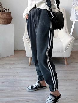 Sport Style Soft Velvet Side Stripes Jogger Pants