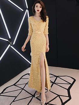 Smart Waist Split Hem V Neck Sequin Evening Dress