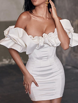 Off The Shoulder White Bodycon Dress