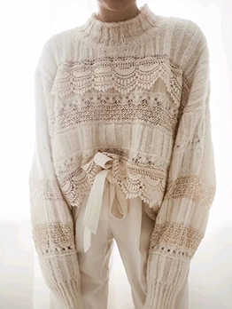 White Lace Stitching Cotton Crew Neck Sweater
