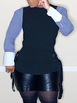 Contrast Color Striped Bandage Ladies Blouse