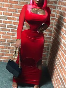 High Neck Hollow Out Velvet Long Sleeve Maxi Dress