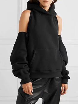 Cold Shoulder Zip-Up Solid Color Hoodies For Women