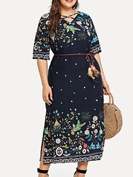 Printed Half Sleeve Split Plus Size Dresses