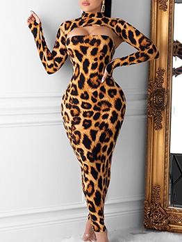 Sexy Leopard Print Skinny Two Piece Maxi Dress Sets
