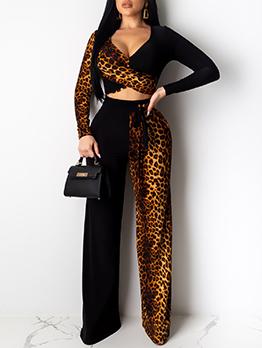 V Neck Stitching Color Leopard Print 2 Piece Pants Set