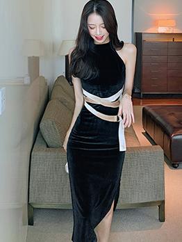 Solid Split Velvet Sleeveless Sheath Dress
