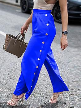 Side Buttons Decor Solid Color Wide Leg Pants