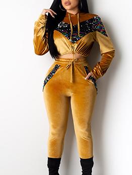 Side Pockets Sequins Patchwork Pleuche 2 Piece Outfits