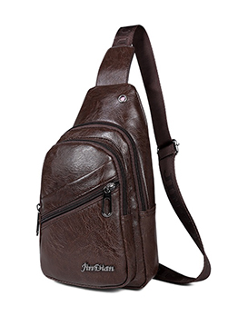 Pu Cross Shoulder Bags For Men With Headphones Hole