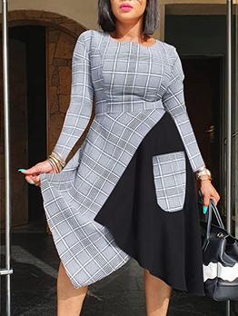 Contrast Color Irregular Patch Midi Dress