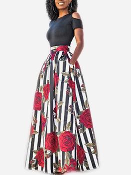 Cold Shoulder Floral Two Piece Maxi Skirt Set