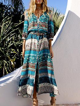 Bohemia Style Split Hem Print Maxi Dress