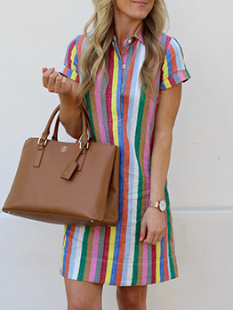 Single-Breasted Striped Short Sleeve Shirt Dress