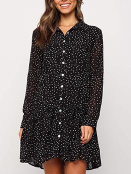 Turndown Neck Polka Dot Long Sleeve Shirt Dress