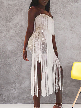 Tassel Hem Sleeveless Sequin Dress