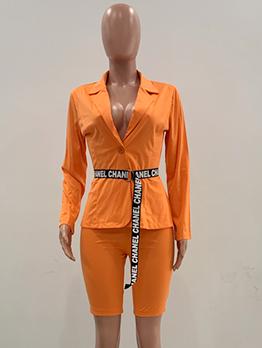Lapel Collar Long Sleeve Blazer With Short Pants