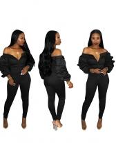 Off Shoulder Puff Sleeve Black Jumpsuit