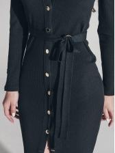 Single-Breasted Deep v Black Dress